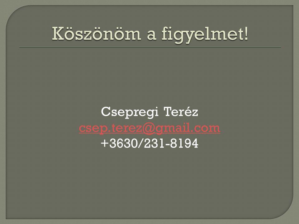 Csepregi Teréz csep.terez@gmail.com +3630/231-8194