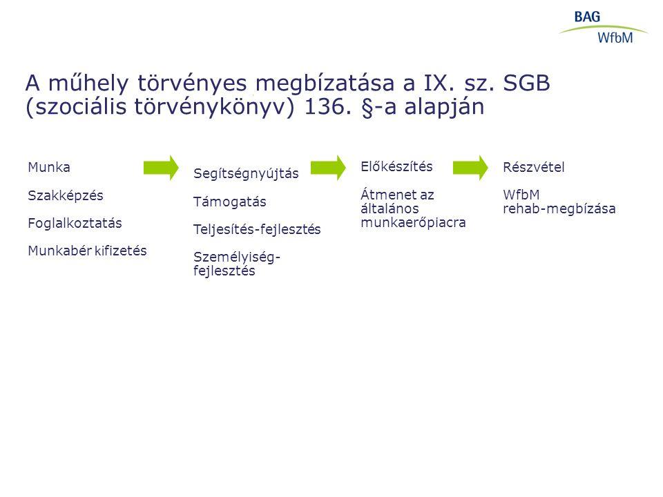 A műhely törvényes megbízatása a IX. sz. SGB (szociális törvénykönyv) 136. §-a alapján Előkészítés Átmenet az általános munkaerőpiacra Munka Szakképzé