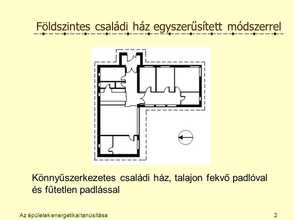 Az épületek energetikai tanúsítása Az éves nettó fűtési energiaigény számítása: Az éves fűtési hőfokhíd ezredrésze H = 72 hK/1000a, a fűtési idény hosszának ezredrésze Z F = 4,4 h/1000a.
