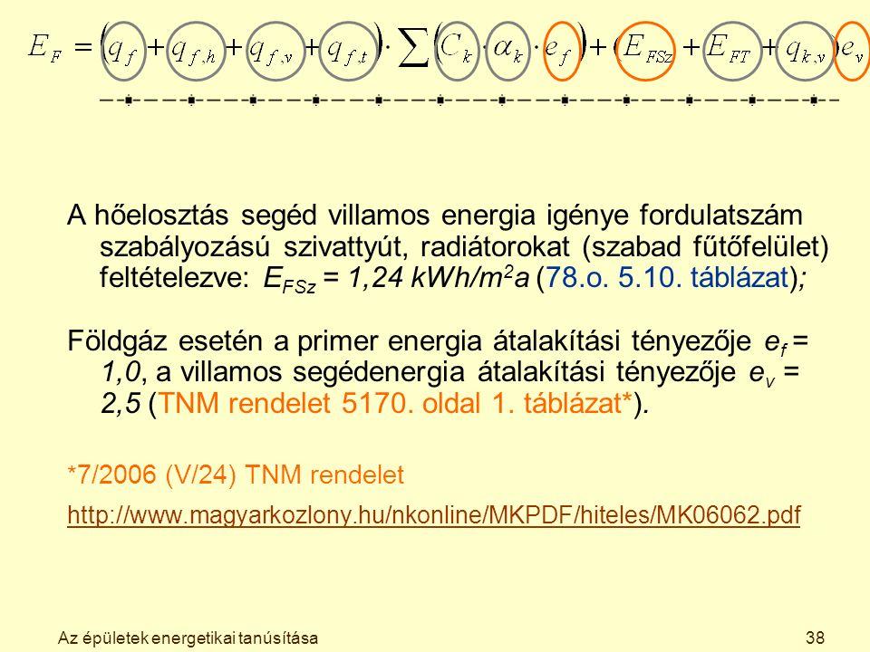 Az épületek energetikai tanúsítása38 A hőelosztás segéd villamos energia igénye fordulatszám szabályozású szivattyút, radiátorokat (szabad fűtőfelület) feltételezve: E FSz = 1,24 kWh/m 2 a (78.o.
