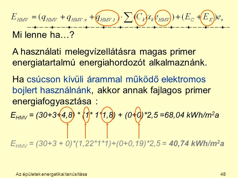 Az épületek energetikai tanúsítása48 Mi lenne ha….