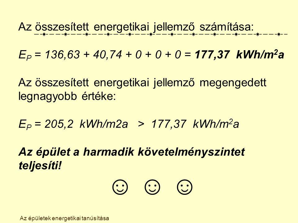 Az épületek energetikai tanúsítása Az összesített energetikai jellemző számítása: E P = 136,63 + 40,74 + 0 + 0 + 0 = 177,37 kWh/m 2 a Az összesített energetikai jellemző megengedett legnagyobb értéke: E P = 205,2 kWh/m2a> 177,37 kWh/m 2 a Az épület a harmadik követelményszintet teljesíti.
