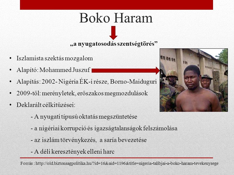"""Boko Haram """"a nyugatosodás szentségtörés Iszlamista szektás mozgalom Alapító: Mohammed Juszuf Alapítás: 2002- Nigéria ÉK-i része, Borno-Maiduguri 2009-től: merényletek, erőszakos megmozdulások Deklarált célkitűzései: - A nyugati típusú oktatás megszüntetése - a nigériai korrupció és igazságtalanságok felszámolása - az iszlám törvénykezés, a saría bevezetése - A déli keresztények elleni harc Forrás : http://old.biztonsagpolitika.hu/ id=16&aid=1196&title=nigeria-talibjai-a-boko-haram-tevekenysege"""