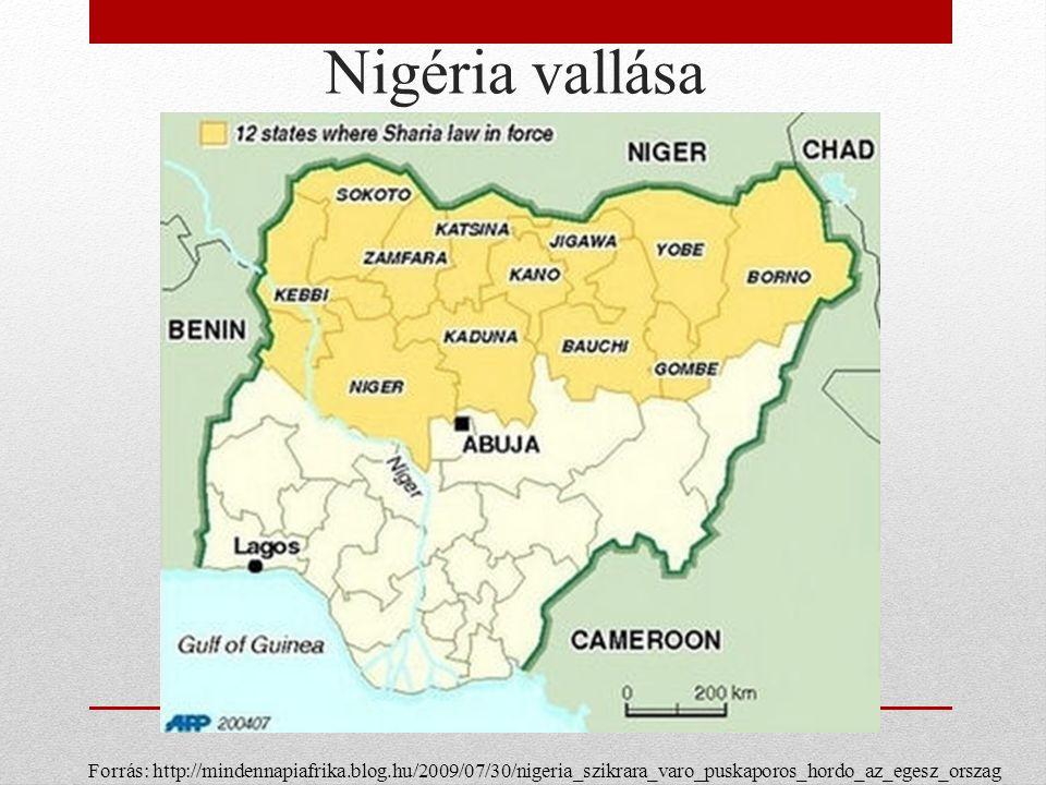 Nigéria vallása Forrás: http://mindennapiafrika.blog.hu/2009/07/30/nigeria_szikrara_varo_puskaporos_hordo_az_egesz_orszag