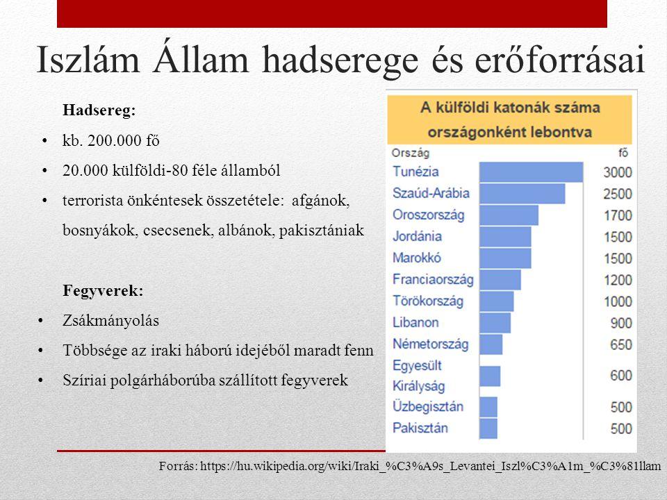Iszlám Állam hadserege és erőforrásai Hadsereg: kb.