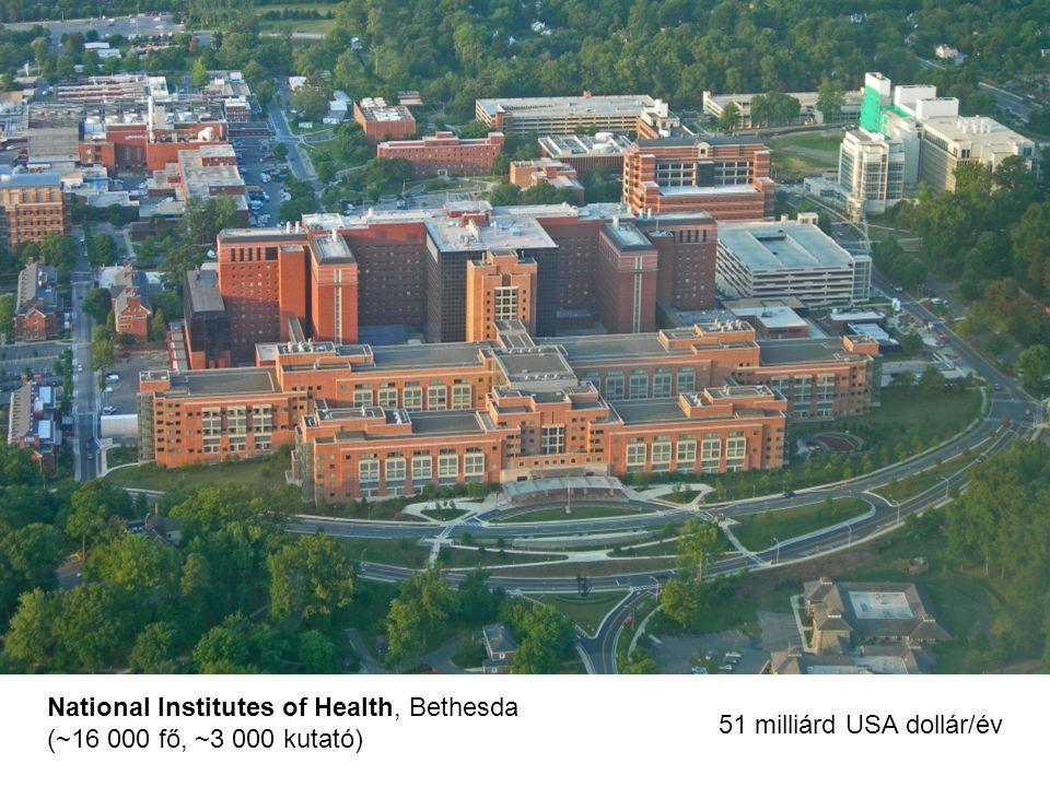 National Institutes of Health, Bethesda (~16 000 fő, ~3 000 kutató) 51 milliárd USA dollár/év