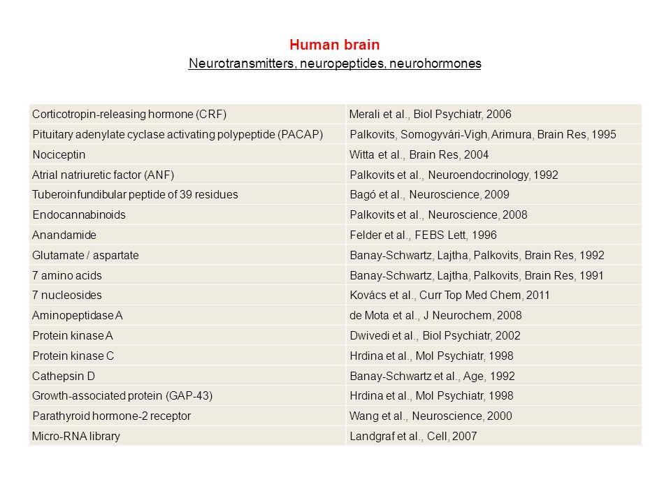 Human brain Neurotransmitters, neuropeptides, neurohormones Corticotropin-releasing hormone (CRF)Merali et al., Biol Psychiatr, 2006 Pituitary adenylate cyclase activating polypeptide (PACAP)Palkovits, Somogyvári-Vigh, Arimura, Brain Res, 1995 NociceptinWitta et al., Brain Res, 2004 Atrial natriuretic factor (ANF)Palkovits et al., Neuroendocrinology, 1992 Tuberoinfundibular peptide of 39 residuesBagó et al., Neuroscience, 2009 EndocannabinoidsPalkovits et al., Neuroscience, 2008 AnandamideFelder et al., FEBS Lett, 1996 Glutamate / aspartateBanay-Schwartz, Lajtha, Palkovits, Brain Res, 1992 7 amino acidsBanay-Schwartz, Lajtha, Palkovits, Brain Res, 1991 7 nucleosidesKovács et al., Curr Top Med Chem, 2011 Aminopeptidase Ade Mota et al., J Neurochem, 2008 Protein kinase ADwivedi et al., Biol Psychiatr, 2002 Protein kinase CHrdina et al., Mol Psychiatr, 1998 Cathepsin DBanay-Schwartz et al., Age, 1992 Growth-associated protein (GAP-43)Hrdina et al., Mol Psychiatr, 1998 Parathyroid hormone-2 receptorWang et al., Neuroscience, 2000 Micro-RNA libraryLandgraf et al., Cell, 2007