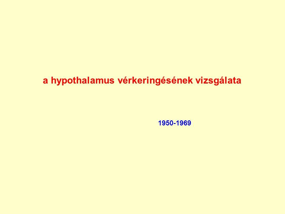 a hypothalamus vérkeringésének vizsgálata 1950-1969