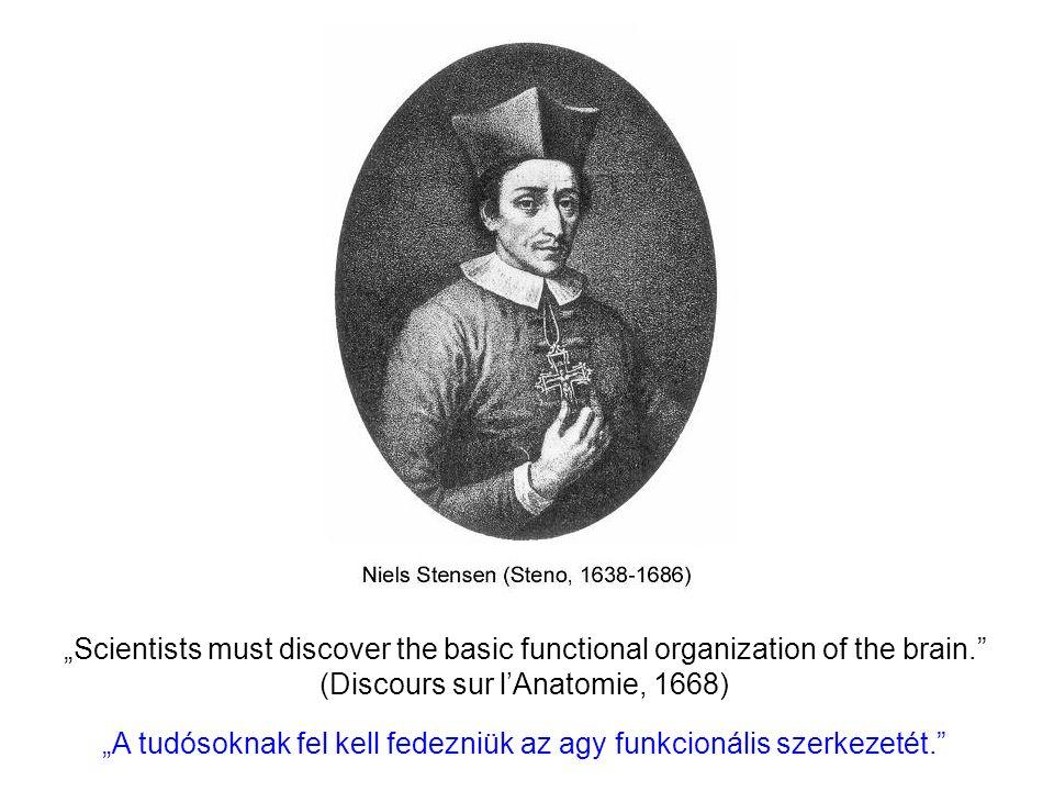 """""""Scientists must discover the basic functional organization of the brain. (Discours sur l'Anatomie, 1668) """"A tudósoknak fel kell fedezniük az agy funkcionális szerkezetét."""