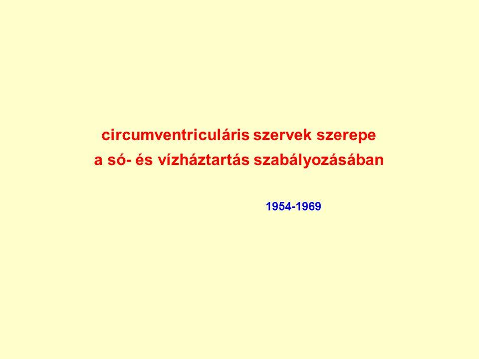 circumventriculáris szervek szerepe a só- és vízháztartás szabályozásában 1954-1969