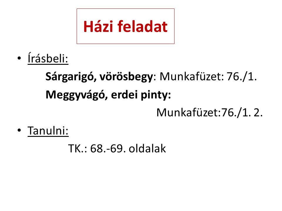 Házi feladat Írásbeli: Sárgarigó, vörösbegy: Munkafüzet: 76./1. Meggyvágó, erdei pinty: Munkafüzet:76./1. 2. Tanulni: TK.: 68.-69. oldalak