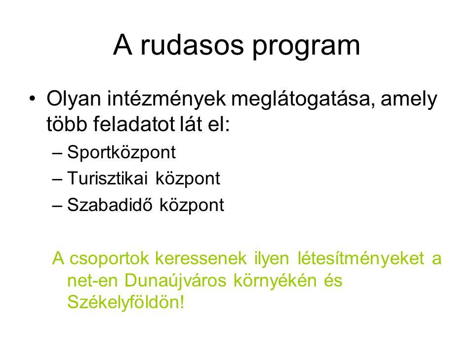 A rudasos program Olyan intézmények meglátogatása, amely több feladatot lát el: –Sportközpont –Turisztikai központ –Szabadidő központ A csoportok keressenek ilyen létesítményeket a net-en Dunaújváros környékén és Székelyföldön!