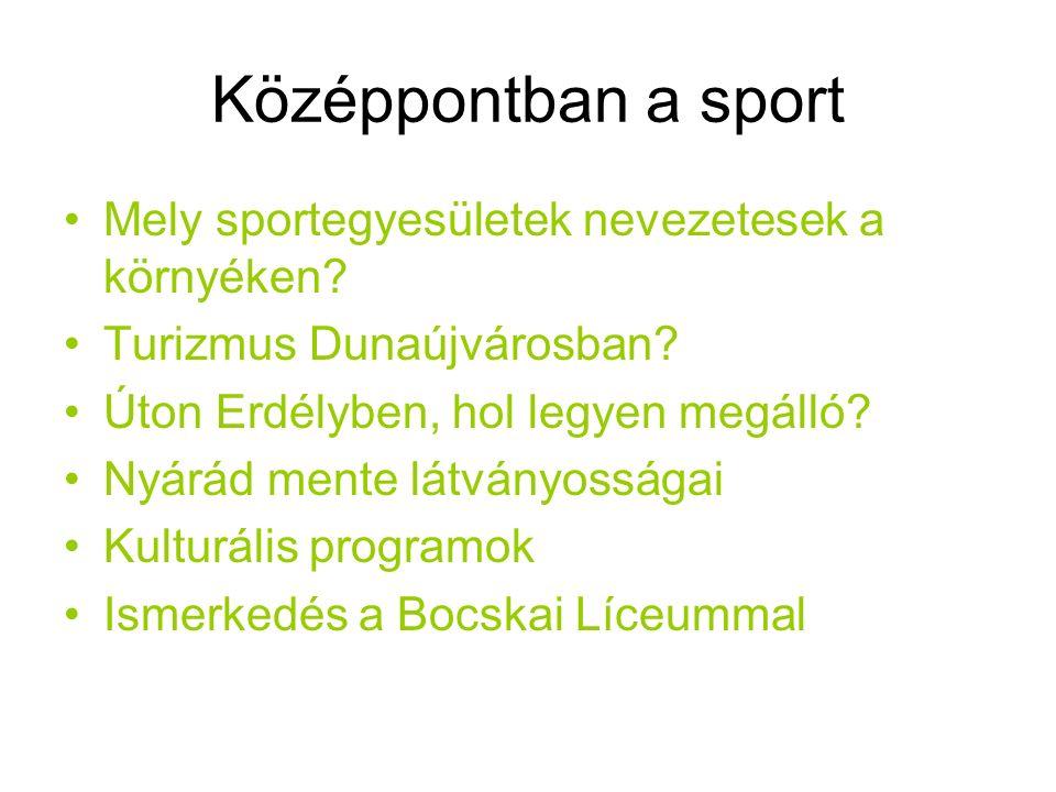 Középpontban a sport Mely sportegyesületek nevezetesek a környéken.
