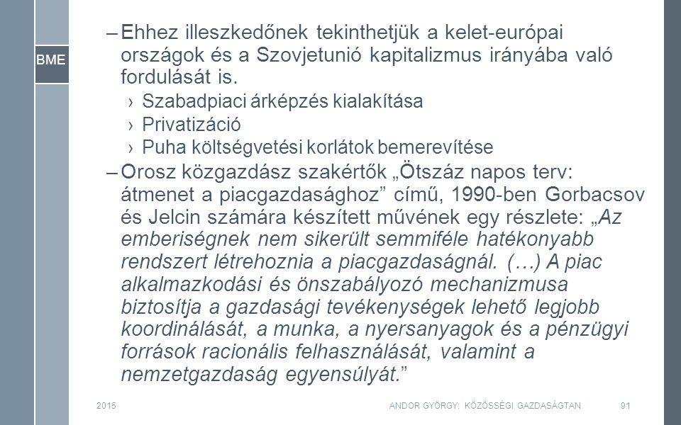 BME 2015ANDOR GYÖRGY: KÖZÖSSÉGI GAZDASÁGTAN91 –Ehhez illeszkedőnek tekinthetjük a kelet-európai országok és a Szovjetunió kapitalizmus irányába való fordulását is.