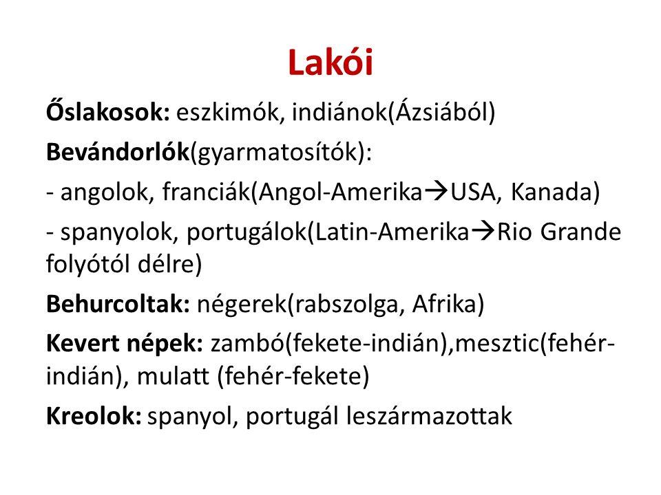 Lakói Őslakosok: eszkimók, indiánok(Ázsiából) Bevándorlók(gyarmatosítók): - angolok, franciák(Angol-Amerika  USA, Kanada) - spanyolok, portugálok(Lat