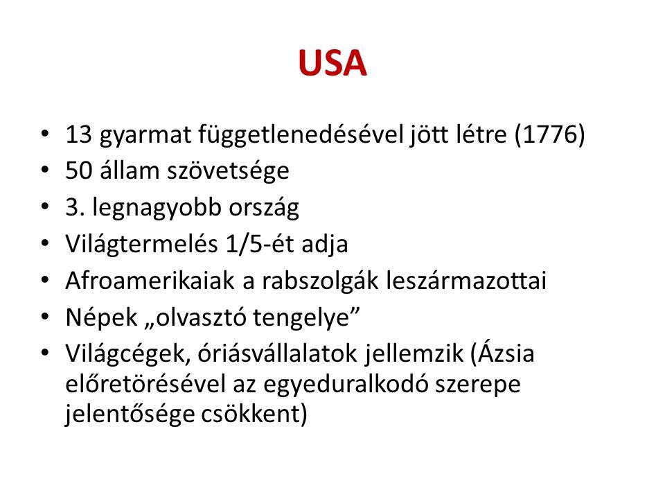 USA 13 gyarmat függetlenedésével jött létre (1776) 50 állam szövetsége 3.