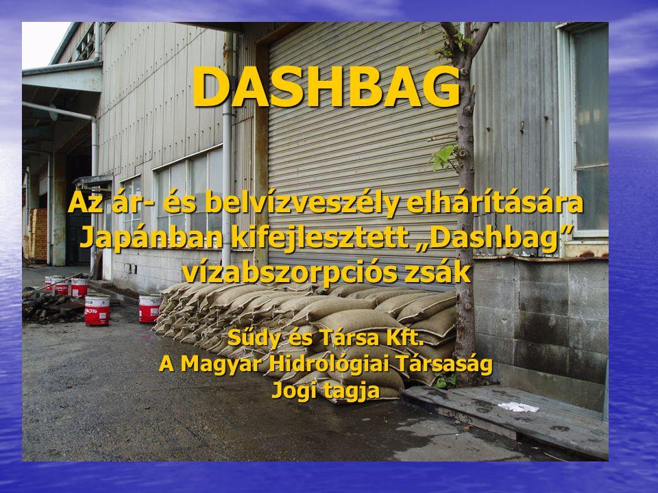 DASHBAG Prezentáció Specifikáció Specifikáció Használati utasítás Használati utasítás Használati példák Használati példák Használat utáni megsemmisítés Használat utáni megsemmisítés Csomagolás Csomagolás Összehasonlítás a hagyományos homokzsákokkal Összehasonlítás a hagyományos homokzsákokkal A Dashbag zsák előnyei – Összefoglalás A Dashbag zsák előnyei – Összefoglalás A Dashbag zsák hazai hasznosítása A Dashbag zsák hazai hasznosítása Referenciák (Üzleti- és Állami szféra) Referenciák (Üzleti- és Állami szféra) Kérdések Kérdések