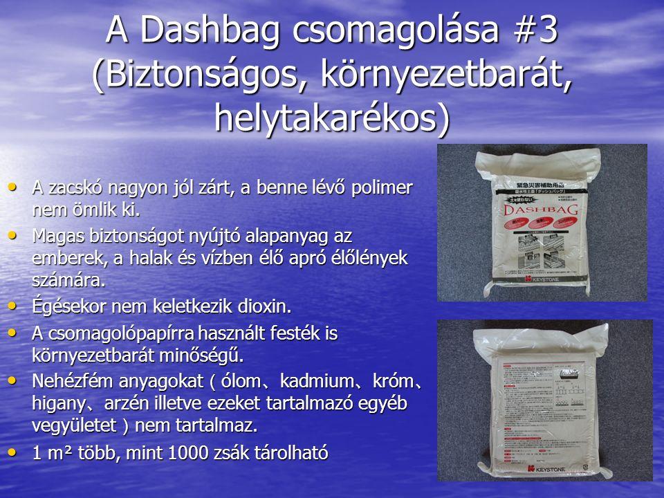 A Dashbag csomagolása #3 (Biztonságos, környezetbarát, helytakarékos) A zacskó nagyon jól zárt, a benne lévő polimer nem ömlik ki.