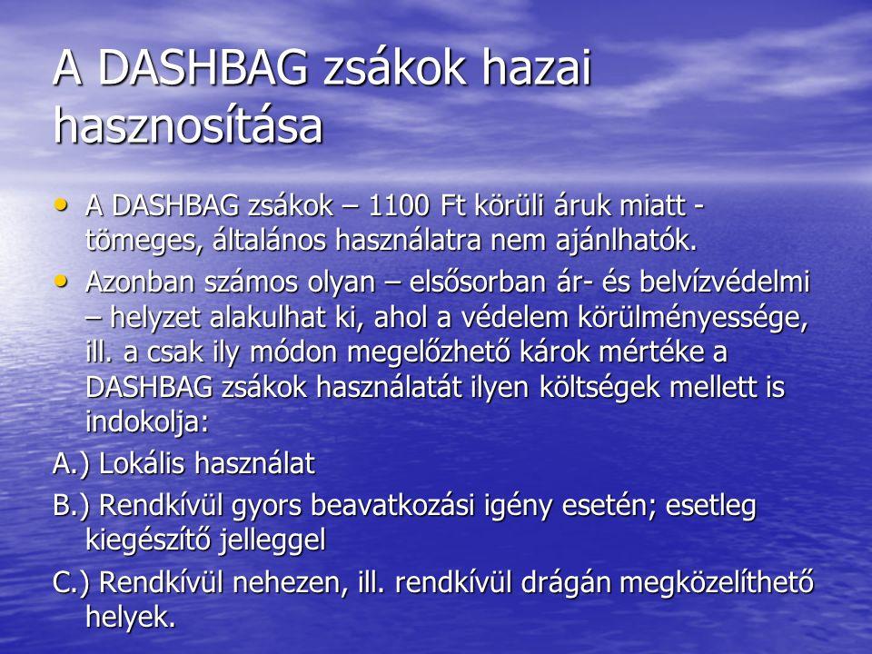 A DASHBAG zsákok hazai hasznosítása A DASHBAG zsákok – 1100 Ft körüli áruk miatt - tömeges, általános használatra nem ajánlhatók.
