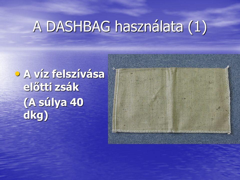 A DASHBAG használata (1) A víz felszívása előtti zsák A víz felszívása előtti zsák (A súlya 40 dkg)