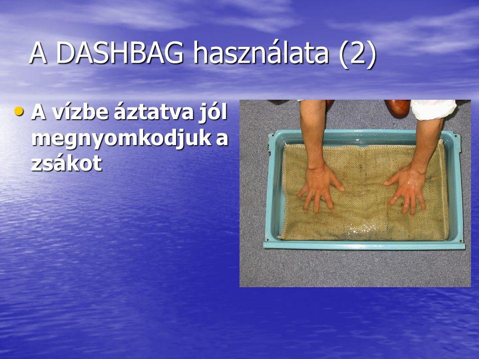 A DASHBAG használata (3) A zsák állapota a vízbe áztatás után 5 perccel (A zsák súlya 15 Kg-ra tágul) A zsák állapota a vízbe áztatás után 5 perccel (A zsák súlya 15 Kg-ra tágul)