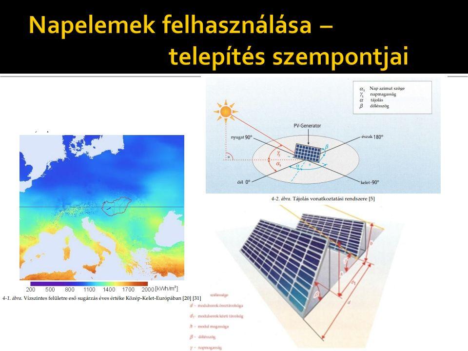  Kristály-Szil.: 35° dőlés szög  Terület igény: 8300 m^2  Éves energiamennyiség: 579 e KWh  Kristály-Szil :25° dőlésszög  Terület igény:7126 m^2  Éves energiamennyiség: 572 e KWh  Amorf: 25° dőlésszög  Terület igény: 14538 m^2  Éves energiamennyiség: 568 e KWh