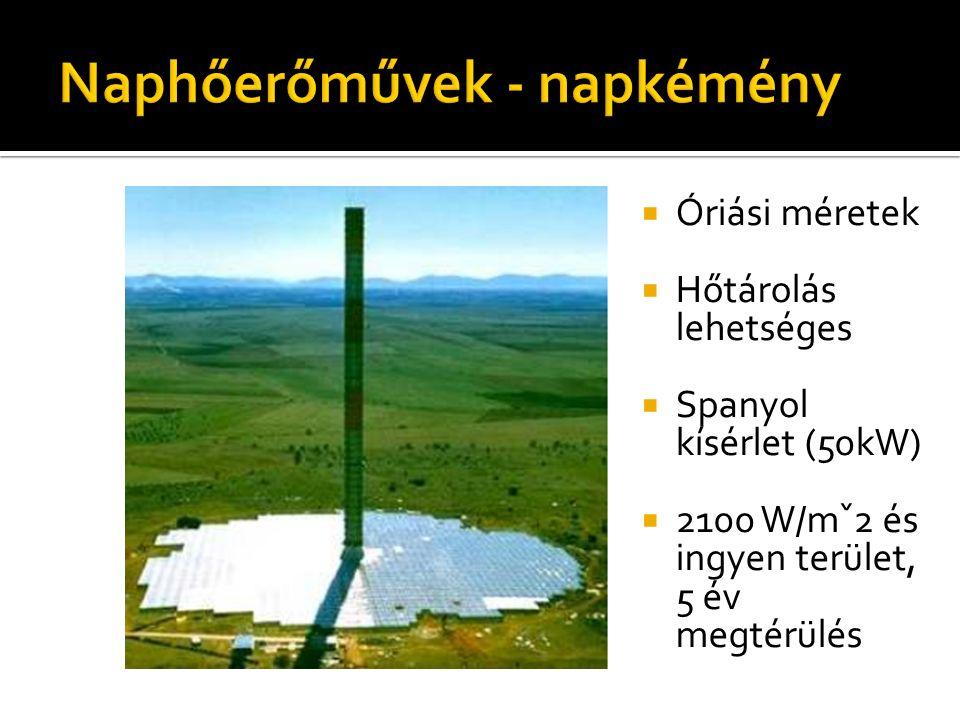  Óriási méretek  Hőtárolás lehetséges  Spanyol kísérlet (50kW)  2100 W/mˇ2 és ingyen terület, 5 év megtérülés