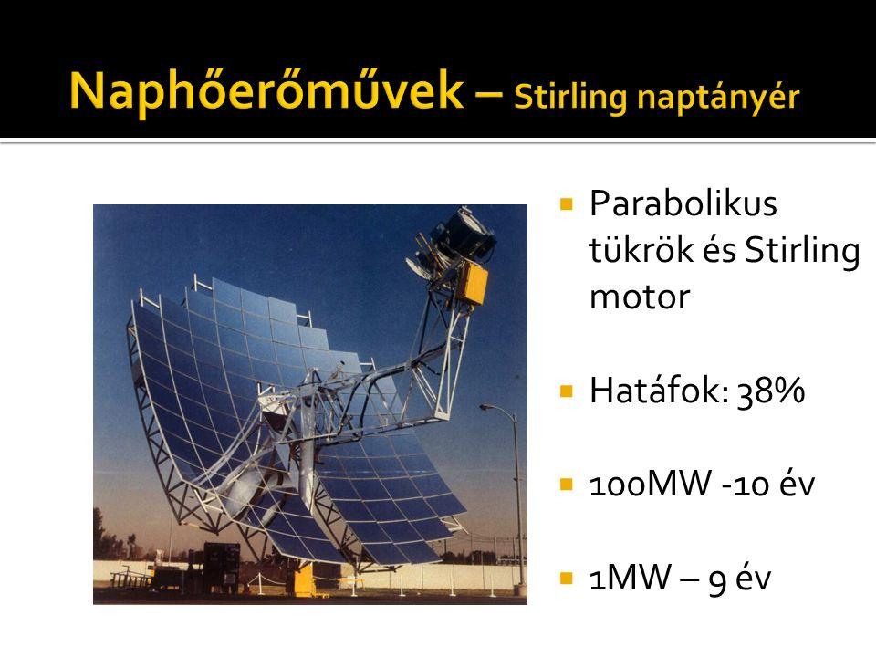  Parabolikus tükrök és Stirling motor  Hatáfok: 38%  100MW -10 év  1MW – 9 év