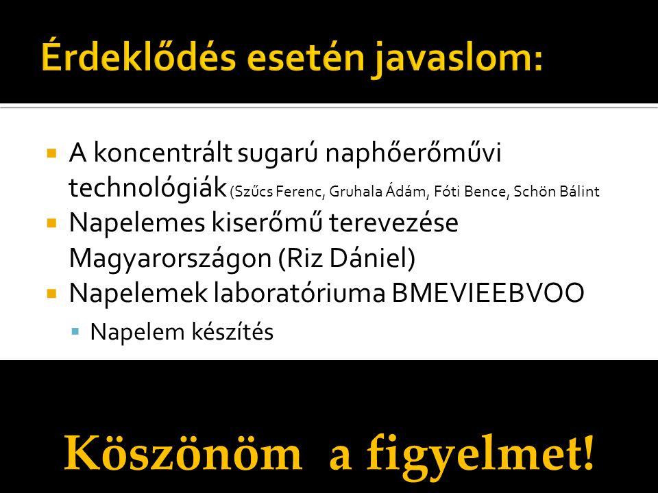  A koncentrált sugarú naphőerőművi technológiák (Szűcs Ferenc, Gruhala Ádám, Fóti Bence, Schön Bálint  Napelemes kiserőmű terevezése Magyarországon (Riz Dániel)  Napelemek laboratóriuma BMEVIEEBVOO  Napelem készítés Köszönöm a figyelmet!