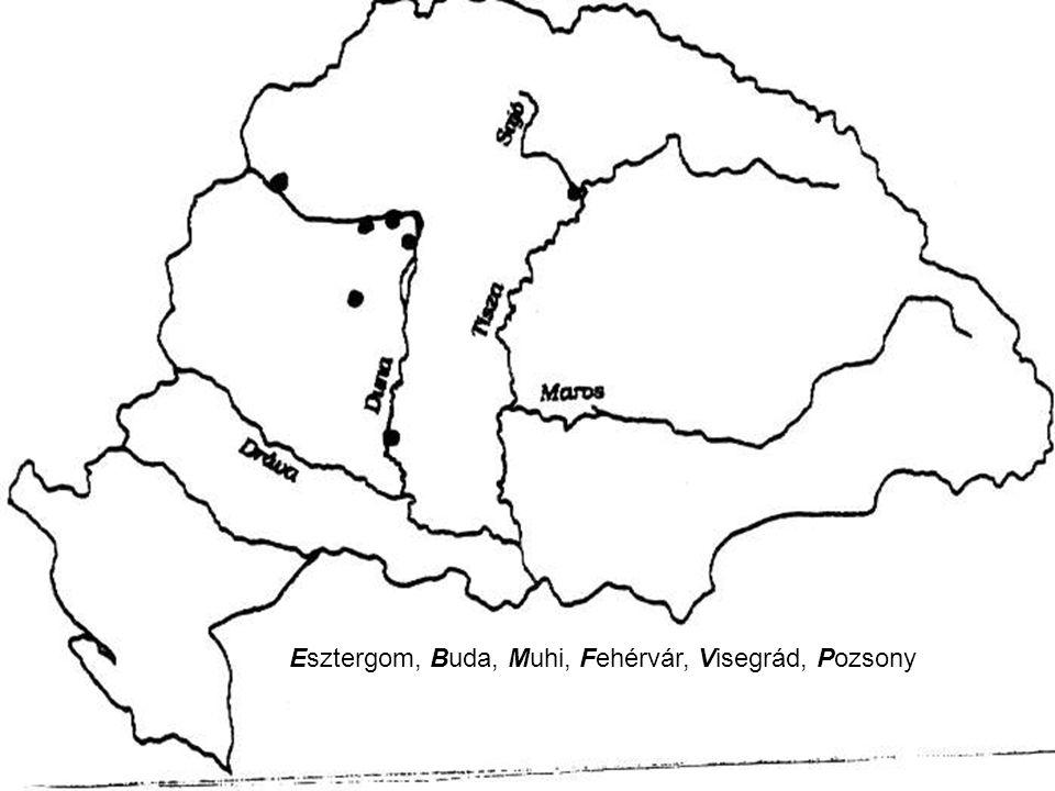 Jelölje a térképrajzon a felsorolt helységneveket a kezdőbetűik beírásával! Használhatja az atlaszt! Esztergom, Buda, Muhi, Fehérvár, Visegrád, Pozson