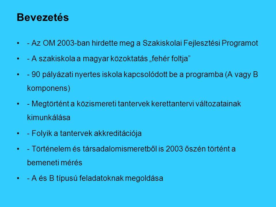 """Bevezetés - Az OM 2003-ban hirdette meg a Szakiskolai Fejlesztési Programot - A szakiskola a magyar közoktatás """"fehér foltja"""" - 90 pályázati nyertes i"""
