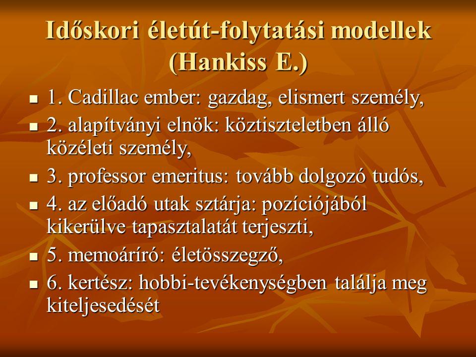 Időskori életút-folytatási modellek (Hankiss E.) 1. Cadillac ember: gazdag, elismert személy, 1. Cadillac ember: gazdag, elismert személy, 2. alapítvá