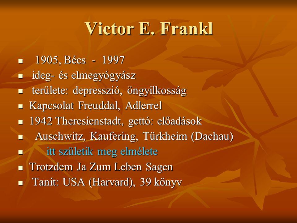 Victor E. Frankl 1905, Bécs - 1997 1905, Bécs - 1997 ideg- és elmegyógyász ideg- és elmegyógyász területe: depresszió, öngyilkosság területe: depressz