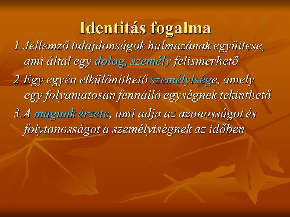 Identitás fogalma 1.Jellemző tulajdonságok halmazának együttese, ami által egy dolog, személy felismerhető 2.Egy egyén elkülöníthető személyisége, amely egy folyamatosan fennálló egységnek tekinthető 3.A magunk érzete, ami adja az azonosságot és folytonosságot a személyiségnek az időben
