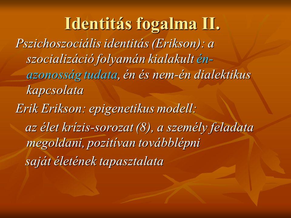 Identitás fogalma II. Pszichoszociális identitás (Erikson): a szocializáció folyamán kialakult én- azonosság tudata, én és nem-én dialektikus kapcsola