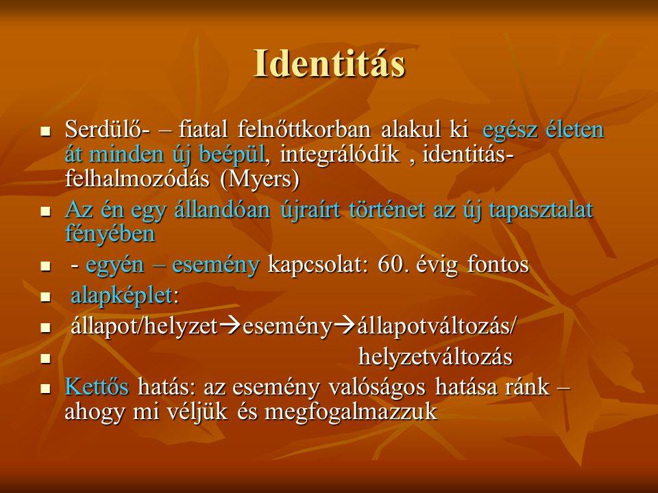 """Identitás összetevői - Testkép, helyem a térben, önreprezentáció - Testkép, helyem a térben, önreprezentáció - Én-kép: észlelő, cselekvő én - Én-kép: észlelő, cselekvő én - Önértékelés: önkontroll, morális értkelés - Önértékelés: önkontroll, morális értkelés - Csoporttagság: - Csoporttagság: szerepek: család, hivatás, nemzet, vallás szerepek: család, hivatás, nemzet, vallás - Én-azonosság folytonossága - Én-azonosság folytonossága Az """"én (""""magam ): személyiségünk legbelső tartalmi része , a fentiek hordozója, egységbe integrál Az """"én (""""magam ): személyiségünk legbelső tartalmi része , a fentiek hordozója, egységbe integrál A történetek ezek megjelenítését szolgálják A történetek ezek megjelenítését szolgálják"""