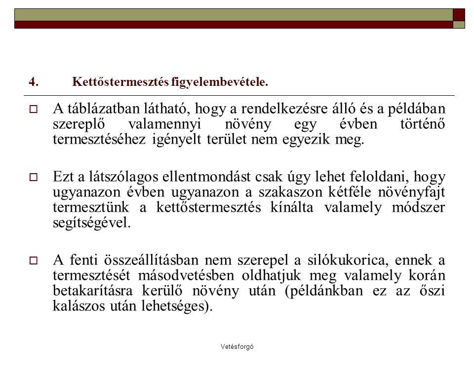 Vetésforgó 4. Kettőstermesztés figyelembevétele.