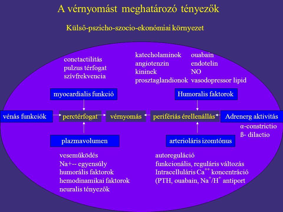 A vérnyomást meghatározó tényezők Külső-pszicho-szocio-ekonómiai környezet conctactilitás pulzus térfogat szívfrekvencia myocardialis funkció perctérf