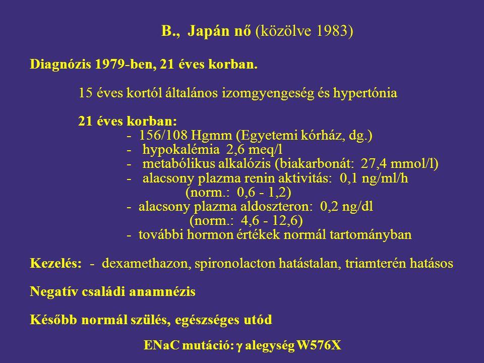 B., Japán nő (közölve 1983) Diagnózis 1979-ben, 21 éves korban. 15 éves kortól általános izomgyengeség és hypertónia 21 éves korban: - 156/108 Hgmm (E