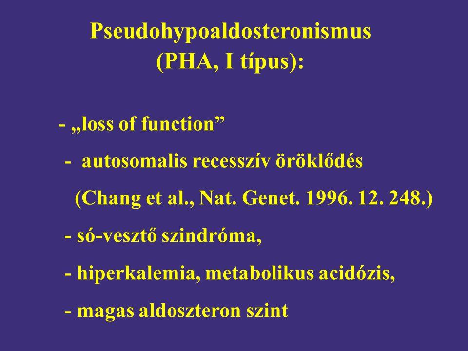 """Pseudohypoaldosteronismus (PHA, I típus): - """"loss of function"""" - autosomalis recesszív öröklődés (Chang et al., Nat. Genet. 1996. 12. 248.) - só-veszt"""