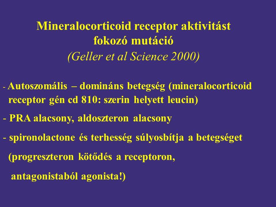 Mineralocorticoid receptor aktivitást fokozó mutáció (Geller et al Science 2000) - Autoszomális – domináns betegség (mineralocorticoid receptor gén cd