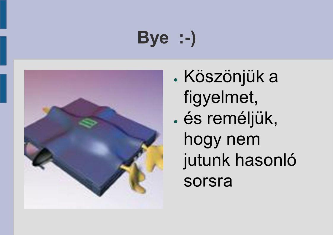 Bye :-) ● Köszönjük a figyelmet, ● és reméljük, hogy nem jutunk hasonló sorsra