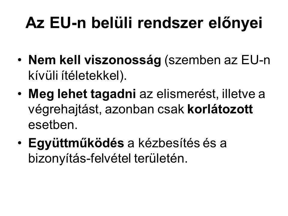 Az EU-n belüli rendszer előnyei Nem kell viszonosság (szemben az EU-n kívüli ítéletekkel).