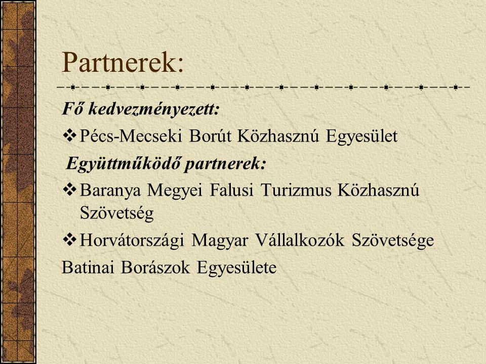 Partnerek: Fő kedvezményezett:  Pécs-Mecseki Borút Közhasznú Egyesület Együttműködő partnerek:  Baranya Megyei Falusi Turizmus Közhasznú Szövetség  Horvátországi Magyar Vállalkozók Szövetsége Batinai Borászok Egyesülete
