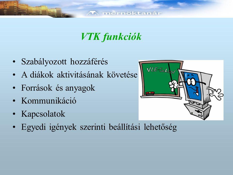 VTK funkciók Szabályozott hozzáférés A diákok aktivitásának követése Források és anyagok Kommunikáció Kapcsolatok Egyedi igények szerinti beállítási l