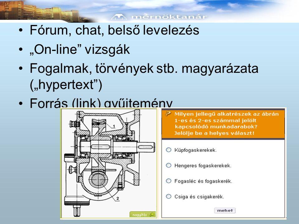 """Fórum, chat, belső levelezés """"On-line"""" vizsgák Fogalmak, törvények stb. magyarázata (""""hypertext"""") Forrás (link) gyűjtemény"""