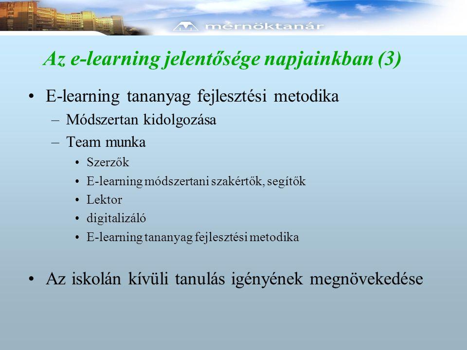 Az e-learning jelentősége napjainkban (3) E-learning tananyag fejlesztési metodika –Módszertan kidolgozása –Team munka Szerzők E-learning módszertani