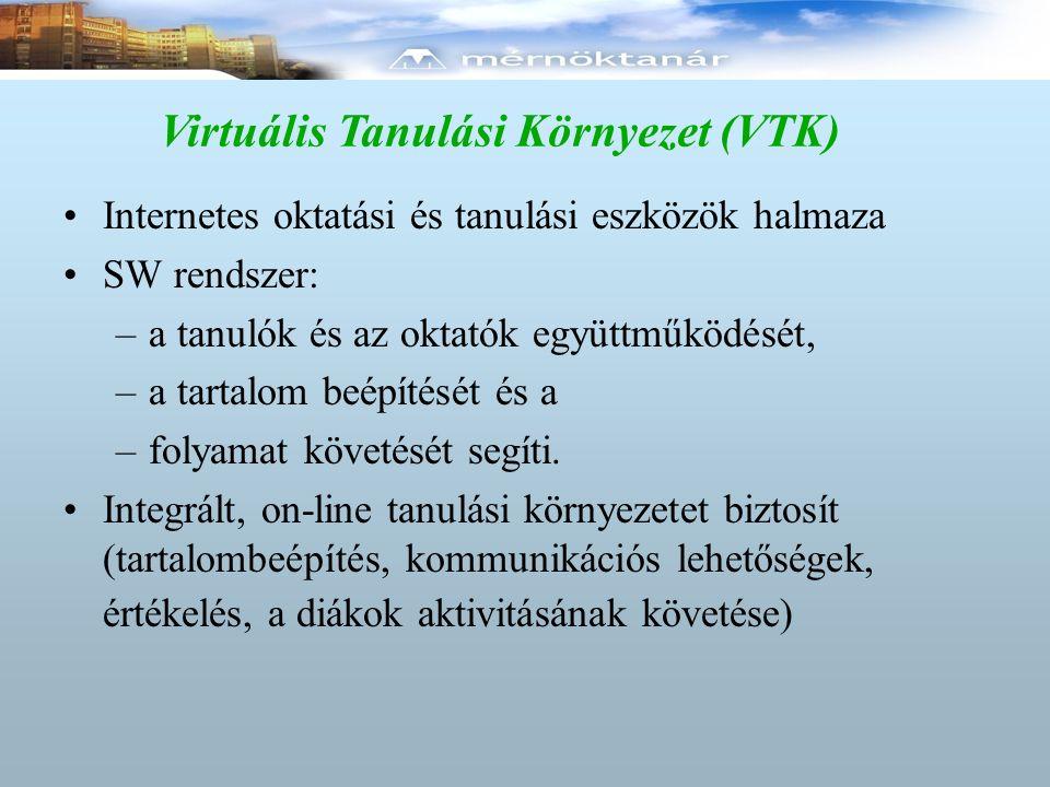 Virtuális Tanulási Környezet (VTK) Internetes oktatási és tanulási eszközök halmaza SW rendszer: –a tanulók és az oktatók együttműködését, –a tartalom