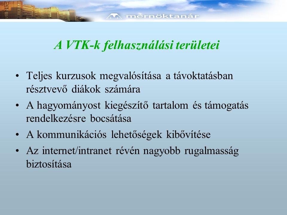 A VTK-k felhasználási területei Teljes kurzusok megvalósítása a távoktatásban résztvevő diákok számára A hagyományost kiegészítő tartalom és támogatás