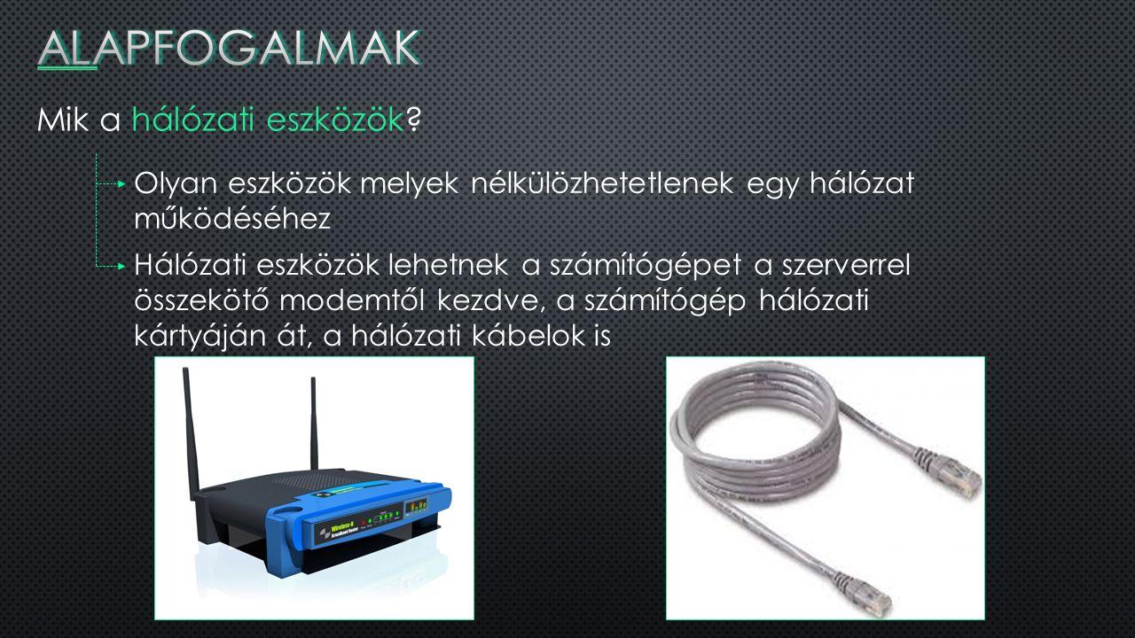 WLAN Vezeték nélküli helyi hálózat, mely rádióhullámok segítségével működik Lehetővé teszi a közelben lévő számítógépek összekapcsolását A legnébszerűbb WLAN szabványcsalád a Wi-Fi Gyakran egymás szinonimájaként használják őket